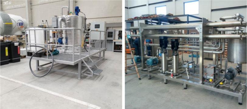 Foto 1: Digestor UASB y máquina de nanofiltración y ósmosis inversa de la planta integral VARAL.